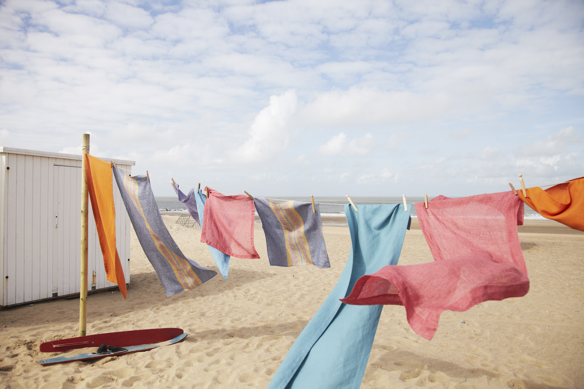 Linen drying on the beach