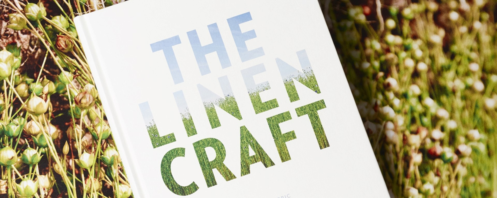 Linen Craft - Book laying in a field of flax